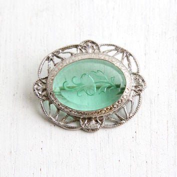Antique Art Deco Green Stone Filigree Brooch - Vintage 1920s Silver Tone Reverse Carved Intaglio Flower on Mint Green Glass Costume Jewelry