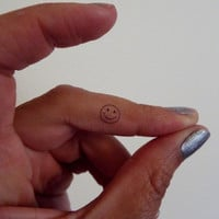 Smiley Face Temporary Tattoo Tiny / Fake Tattoos / Set of 5
