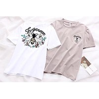 Women Casual Simple Bee Letter Embroidery Pattern Print Short Sleeve T-shirt Tops