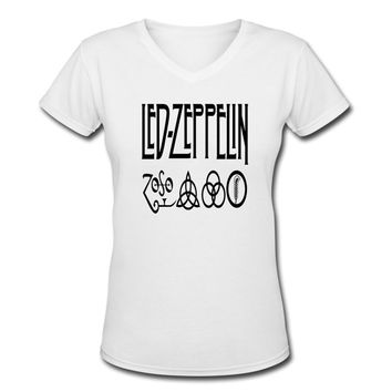 Led Zeppelin V-neck T-shirt  Women Logo  Hard Rock Heavy Metal  Tee  Led Zeppelin   Shirt   Women T Shirt