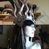Sorceress / Faerie Queen Headdress - Leather, Feathers, Crystals and Chains