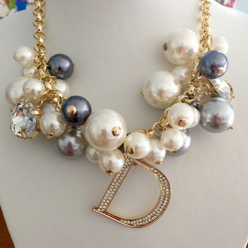 LIMITED ADDITION Celebrity Inspired Multi Color Pearl Rhinestone Gold Choker Initial Necklace