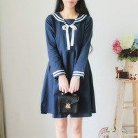 Autumn Dress lolita Blue White Dress Long Sleeve Cotton Dress Sailor Collar Sweet Dress Ball Gown vestidos de renda
