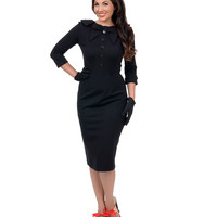 Black Three-Quarter Sleeve CEO Wiggle Dress
