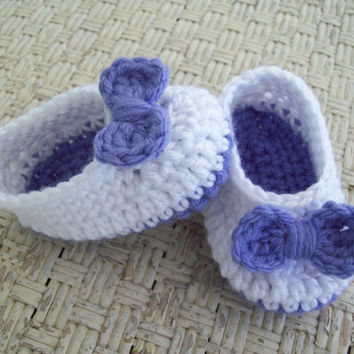 Crochet Baby Ballet  Shoes, White and Lavender Ballet Slippers, 6 months