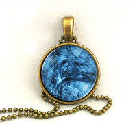 10% SALE - Necklace Water Ink Abstract Ultramarine Blue Pendant Necklaces Gift