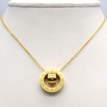 Trendy Crystal Stainless Steel Link Chain For Women Female Necklace