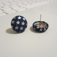 Fabric Covered Navy Blue Star Patriotic Earrings