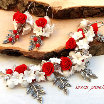 Christmas Jewelry, Red Jewelry, Christmas Bracelet, Red Roses, Flower Jewelry, Christmas Gift, Statement Bracelet, Romantic Earrings, Gift
