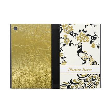 Black, faux gold foil peacock and cherry blossoms case for iPad mini from Zazzle.com