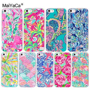 MaiYaCa Lilly Pulitzer Summer flower Pink Coque Shell Transparent Cover Case for iPhone X 8 7 6 6S Plus 5 5S SE 4S