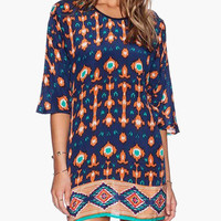 Dark Blue Vintage Print Tunic Mini Dress