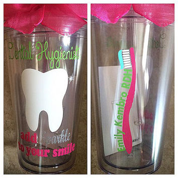 Custom/Personalized Dental Hygienist Add Sparkle To Your Smile Tooth Tumbler With Straw And Bow