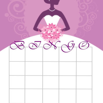 Purple Bridal Theme Bingo Cards