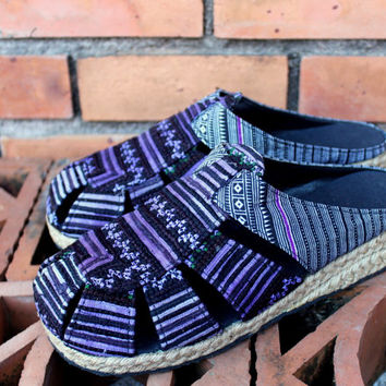 Ladies Shoes In Purple Hmong Embroidery Slip On Womens Slides