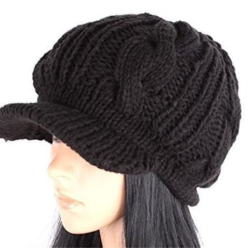 JOVANA Women Slouchy Cabled Knit Beanie Crochet Hat Brim Newsboy Cap (Black)