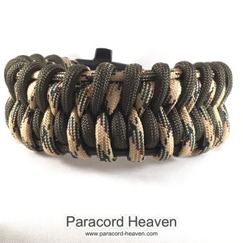 Inter-Twined Snake - Fishtail Belly Paracord Bracelet with Emergency Whistle