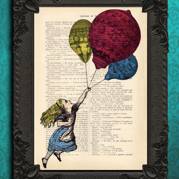 drawing illustration print home decor gifts: alice in wonderland