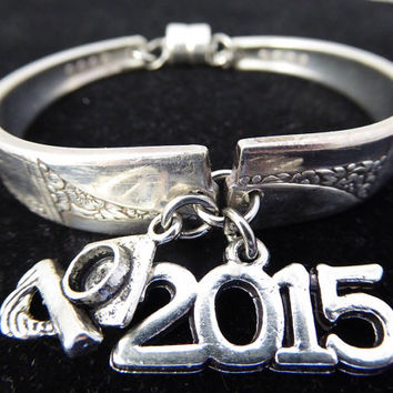 Spoon bracelet in Caprice 1937 pattern, 2015 graduation gift. Silverware jewelry, sterling silver, Commencement day, free gift box