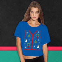 Funny Ugly Sweater Vest Design boxy tee