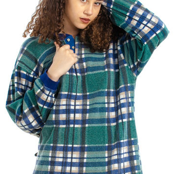 Vintage 90's Mad About Plaid Thermal Henley - One Size Fits Many