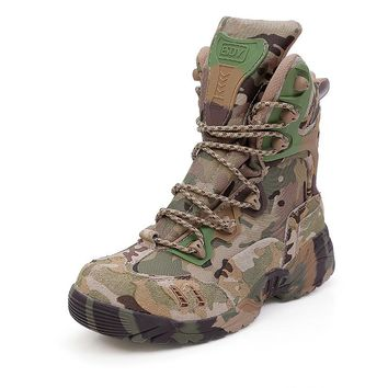 ESDY Outdoor Camouflage Climbing Boots Military Tactical Combat Men Ankle Army Boots breathable breathable high assault shoes