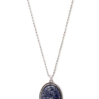 FOREVER 21 Faux Stone Pendant Necklace Blue/Silver One