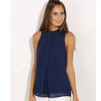 Chiffon  Round-Neck Sleeveless Blouse [6123057860]