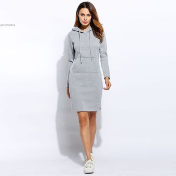 Women Slim Hooded Long Sleeve Solid Pencil Pullover Cotton Blend Hoodie Spring Autumn Dress Red Gray Black Casual Fashion