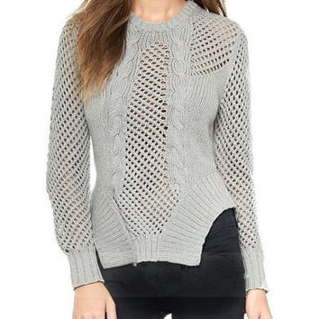 Round Neck Long Sleeve Cut Out Asymmetrical Sweater