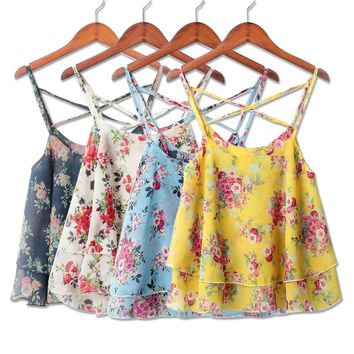 2018 New Hot 4Colors Women Summer Strap Floral Print Chiffon Sexy Tops Retro Floral Satchel Cross-Shoulder Sexy Sleeveless T