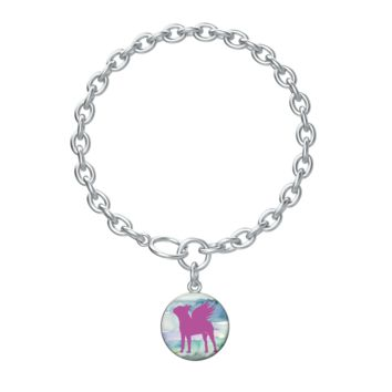Boston Terrier Girl Dog Memorial Lotus Coin with Aurora Bracelet in silver