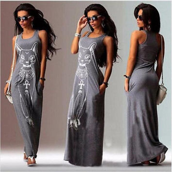 Women Summer Long Dress Sexy Casual Cat Print Boho Long Maxi Beach Dress Evening Party Bodycon Dress Vest Sundress Vestidos -03D24