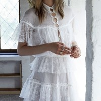 White Cape Overlay Cut Out Detail Layered Lace Dress