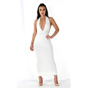 Roll The Dice White Sleeveless Ribbed Plunge V Neck Halter Backless Bodycon Maxi Dress - 3 Colors Available