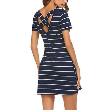Streetwear stripes womem dress plus size Backless hollow out robe female summer dresses Holiday casual beach vestidos dress
