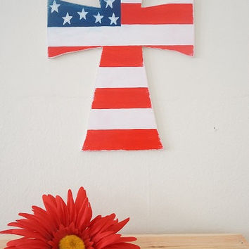 Hand Painted Distressed Red White and Blue Patriotic American Flag Wooden Cross