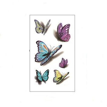 Bittb 3Pcs 3D Butterfly Waterproof Temporary Tattoo Body Art Sticker Fake Tattoos Paster Beauty Healty Temporary Tattoo Pattern