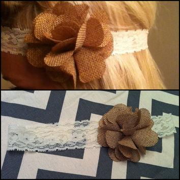 Lace and Burlap Flower Headband by GlitzySouthernChic on Etsy