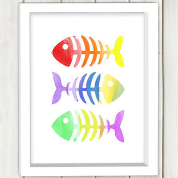 Rainbow fish bones printable art,DIGITAL FILE, wall art, home decor,art print,instant download