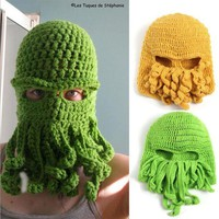 DCCKH6B Handmade Funny Animal Cthulu Beards Hats Octopus Hats caps Crocheted Tentacle Beanies for Men and Women Halloween Birthday Gifts