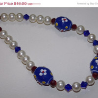ON SALE Red White and Blue Floral Lampwork Necklace