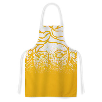 "Just L ""Versus Spray Gold"" White Vector Artistic Apron"
