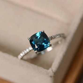 Fashion Desgin  Ring Big Square Sky Blue Stone Rings For Women Jewelry Wedding Engagement Gift  Luxury Inlaid Stone Rings