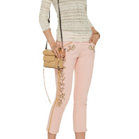 Isabel Marant Monroe embroidered low-rise skinny jeans – 60% at THE OUTNET.COM
