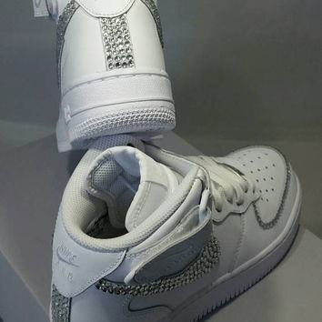 Custom Bling Air Force Ones- Bling Tennis Shoes- Bling   Pearls- Baby Bling 10e338c1046d