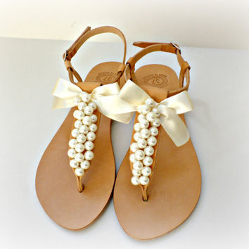 c08235a4ba8b Wedding sandals- Greek leather sandals decorated with ivory pearls and  satin bow -Bridal party