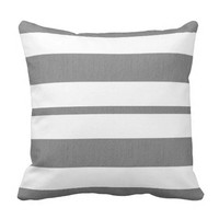 Gray and White Striped Pillow