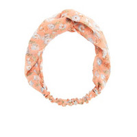 KNOTTED FLORAL PRINT HEAD WRAP