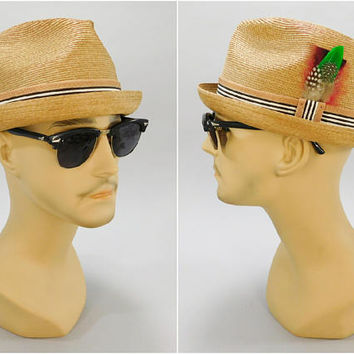1950s - 1960s Vintage / Porkpie Hat / Extra Quality Made in Italy / Milan Straw Hat / Short Brim Fedora / Size 7-1/8 / Mad Men Style